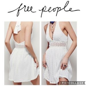 Free People So Sweetly Lace Halter Dress. NWOT